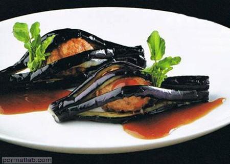 Photo of تزیین بادمجان شکم پر به شکل تور ماهیگیری