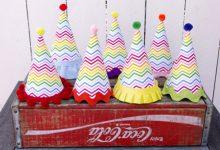 Photo of کلاه فانتزی کاغذی با طرح رنگین کمان