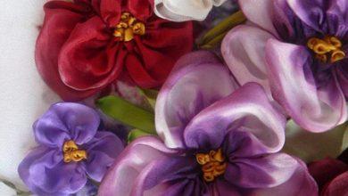 Photo of با روبان دوزی گل بنفشه بسازید