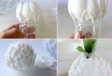 Photo of گلدانی به شکل گل با قاشقهای یکبار مصرف