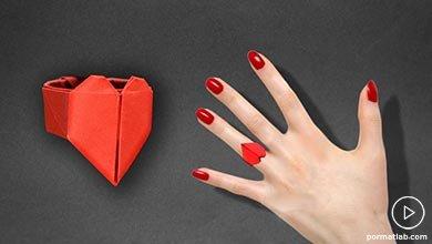 Photo of انگشتر قلب اوریگامی