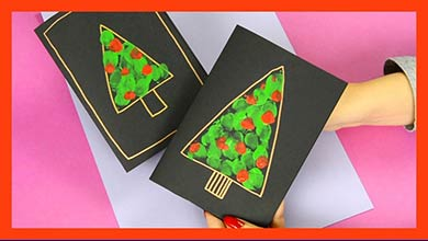 Photo of طرح درخت با نقاشی انگشتی برای ساخت کارت