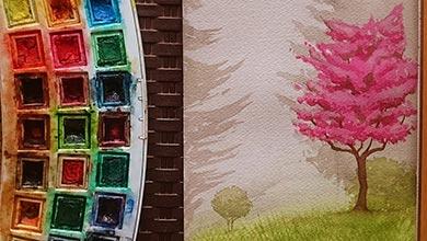 Photo of آموزش نقاشی با آبرنگ طبیعت پاییزی