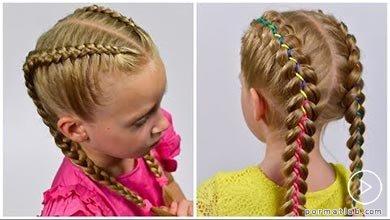 Photo of نمونه بافت بوکسوری موی کودک با روبان های رنگی