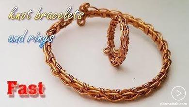 Photo of دستبند و انگشتر دستساز طرح بافت زنجیره با مفتول فلزی