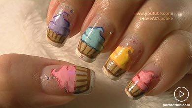 Photo of نقش کاپ کیک های رنگی روی ناخن