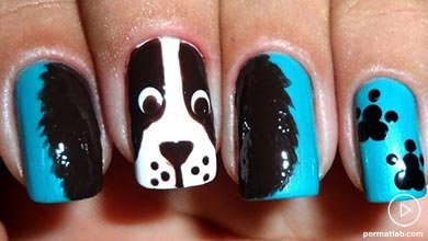 Photo of طراحی تم سگ با رنگ آبی و مشکی روی ناخن