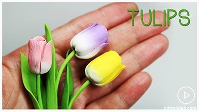 Photo of با خمیر پلیمری گل لاله رنگی بسازید