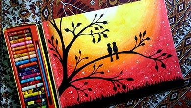 Photo of نقاشی دو مرغ عشق روی درخت
