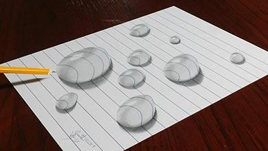 Photo of نقاشی سه بعدی قطره آب روی کاغذ