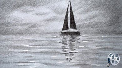 Photo of نقاشی قایق بادی روی دریا