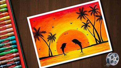 Photo of نقاشی منظره آفتابی با دلفین های زیبا