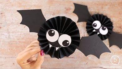 Photo of کاردستی خفاش های کاغذی با طرح بادبزنی