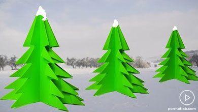 Photo of کاردستی درخت های کاج کریسمسی کاغذی