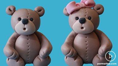 Photo of خرس عروسکی خمیری با پاپیون صورتی