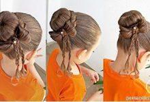 Photo of بافت موی دخترانه مدل گوجه ای با پاپیون زیبا