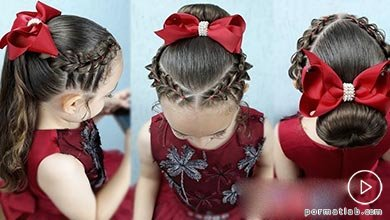 Photo of بافت موی کودکانه مدل گوجهای دوطرفه و پاپیون قرمز