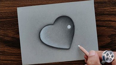Photo of نقاشی قلب با مداد سیاه