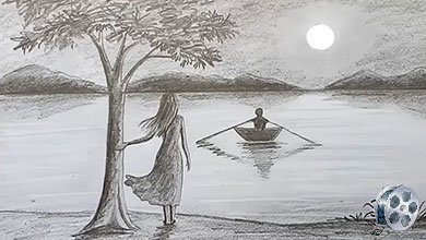 Photo of نقاشی منظره برکه و قایق روی آب با مداد سیاه