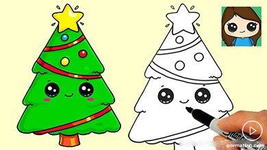 Photo of نقاشی درخت کریسمس فانتزی