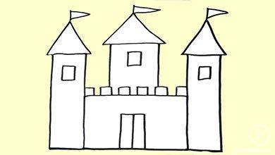Photo of نقاشی قلعه با ماژیک سیاه
