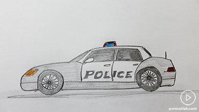 Photo of نقاشی ماشین پلیس با مداد سیاه