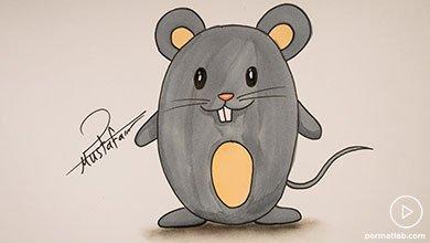 Photo of نقاشی موش ایستاده با ماژیک
