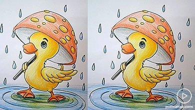 Photo of آموزش مرحله به مرحله نقاشی اردک با چتر