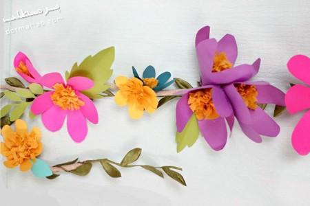 تکنیک های ساخت آویز با گل های کاغذی,آویز گل کاغذی