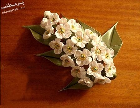 دوخت شکوفه های روبانی,دوخت شکوفه با روبان