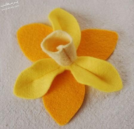 نحوه درست کردن گل نرگس با فوتر,مراحل درست کردن گل نرگس پارچه ای