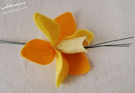 درست کردن گل نرگس پارچه ای,مراحل درست کردن گل نرگس پارچه ای