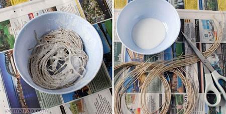 طرز ساخت کاسه با نخ کنفی, درست کردن ظرف میوه با نخ کنفی