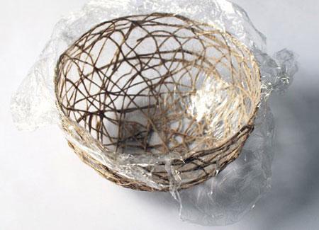 درست کردن کاسه کنفی,طرز ساخت کاسه با نخ کنفی
