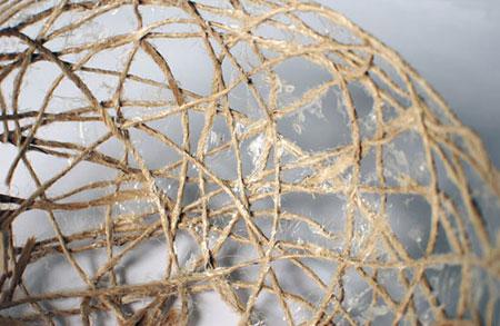 کارهای هنری با نخ های کنفی,ساخت کاسه تزیینی کنفی